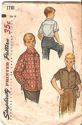 PATTERN (386), SIMPLICITY PRINTED PATTERN 1781, BOYS' SHIRT SZ 14, 1956, UNCUT