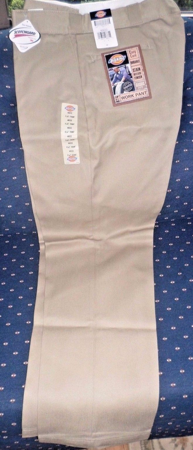 DICKIES Work Pant 874, Size 40x32, Khaki/Beige,Flat Front, Stain Release, NEW!