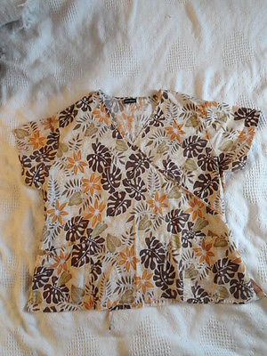 Absolute Scrub Top,Womens XL,Tropical Floral Pattern