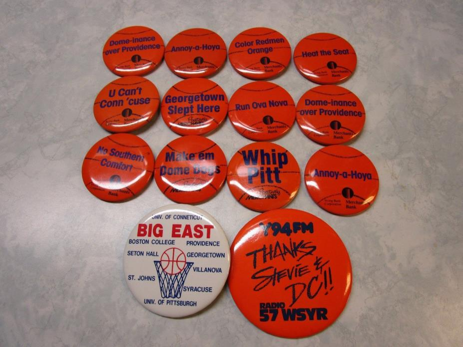 Syracuse Basketball Pinback Buttons Badges Big East 1990's Assorted Teams