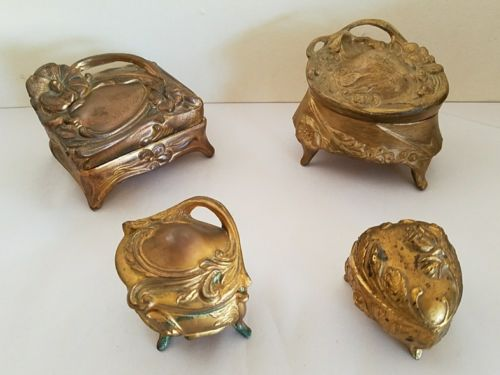Lot of 4 Antique Art Nouveau Hinged Jewelry Caskets - Great Bride's Gift
