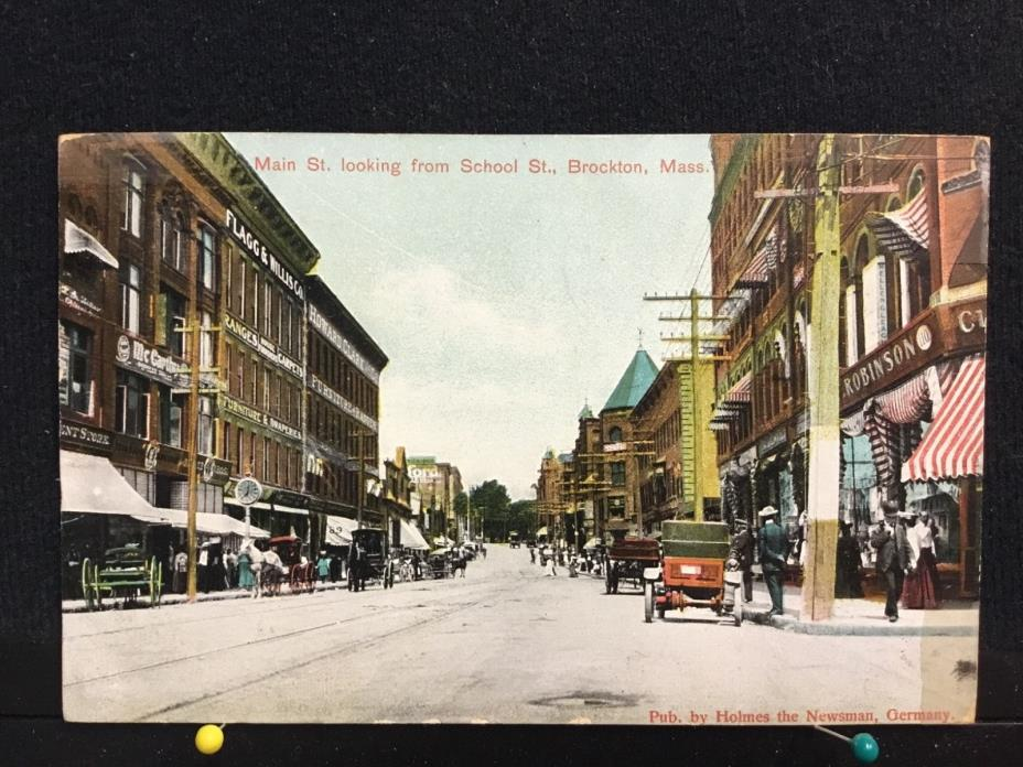 Brockton Mass, Main St. Looking from School Street 1907 Postcard