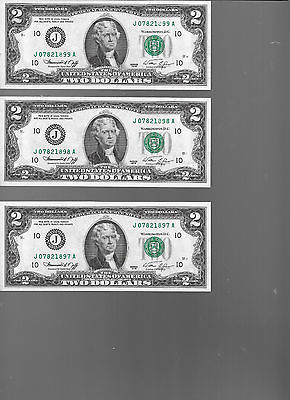 Three Fr. # 1935 $2 Fed. Reserve Notes - Choice CU - (JXXXA) - 1976J