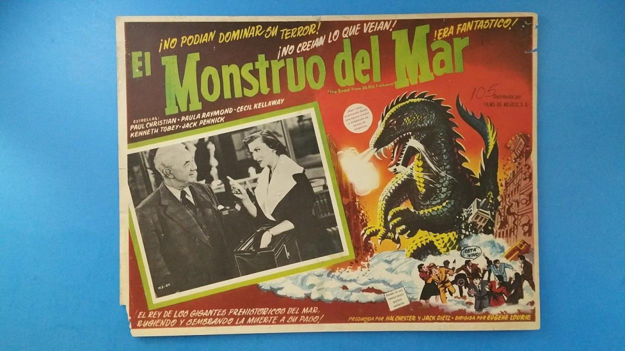 Rare Vintage Original THE BEAST FROM 20,000 FATHOMS(1953) Mexican Lobby Card