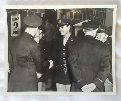 CLARK GABLE ~Uniform Original CANDID Vintage 1940's Army Photo + Bonus War Clips
