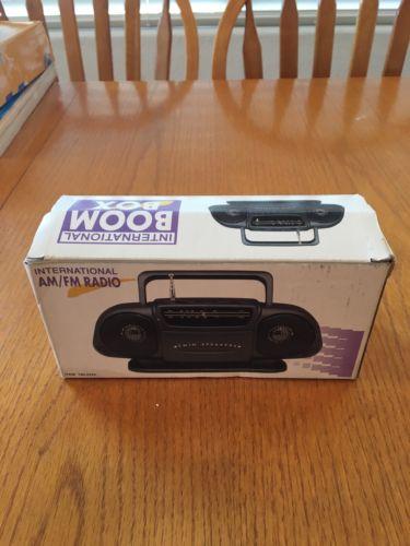 International AM/FM Radio Mini Boom Box 190-2225 - NEW Open Box Tested Works