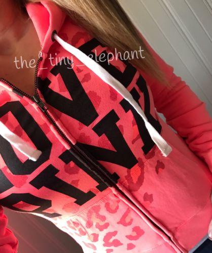 NWT Victoria Secret Love Pink Coral Cheetah VS Leopard Full Zip Jacket Hoodie S