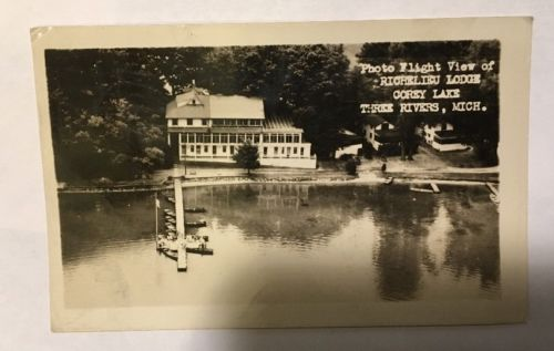 Postcard Photo Flight View Richelieu Lodge Three Rivers, Mich Corey Lake