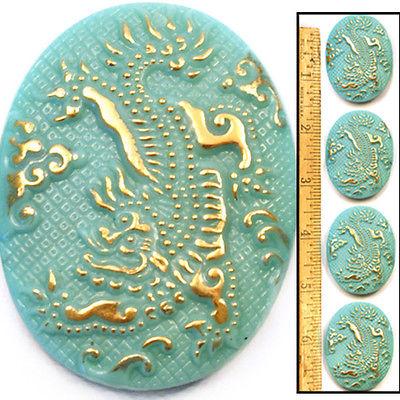 Reduced! XL 42mm Vintage Czech Glass Turquoise Blue Gold Oval DRAGON Buttons 4pc