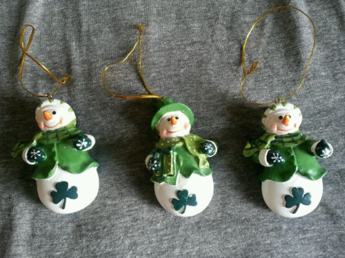 Irish Snowmen Holiday Christmas Ornaments Set of Three