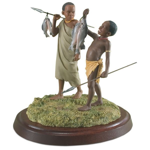 Lenox Thomas Blackshear's Ebony Visions Good Catch Figurine ~ 2 Boys Fishing NIB