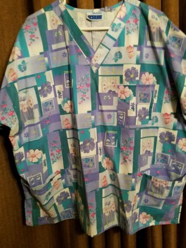MHD Scrubs Size 2X  Flowers and Butterfly print  Blue Pink and Teal Scrub Top