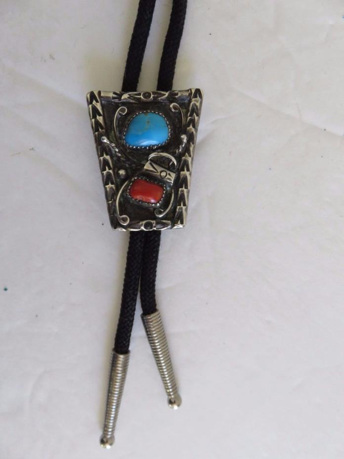 Bennett Pat Pend Turquoise Coral Sterling Bolo Tie