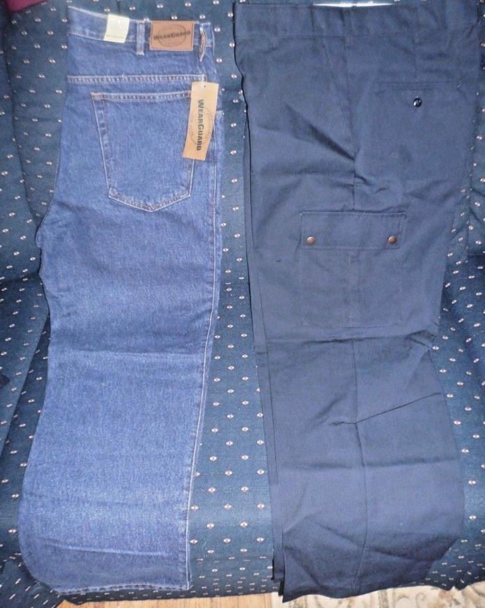 2 Pair WearGuard Workwear Pants 34x30, Denim All Cotton, Cargo 65P/35C, NEW!