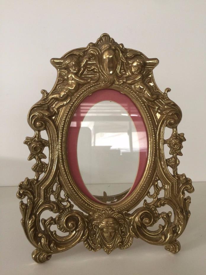 Vintage Victorian Baroque Cherub Bronze Brass Picture Photo Frame Easel, 10