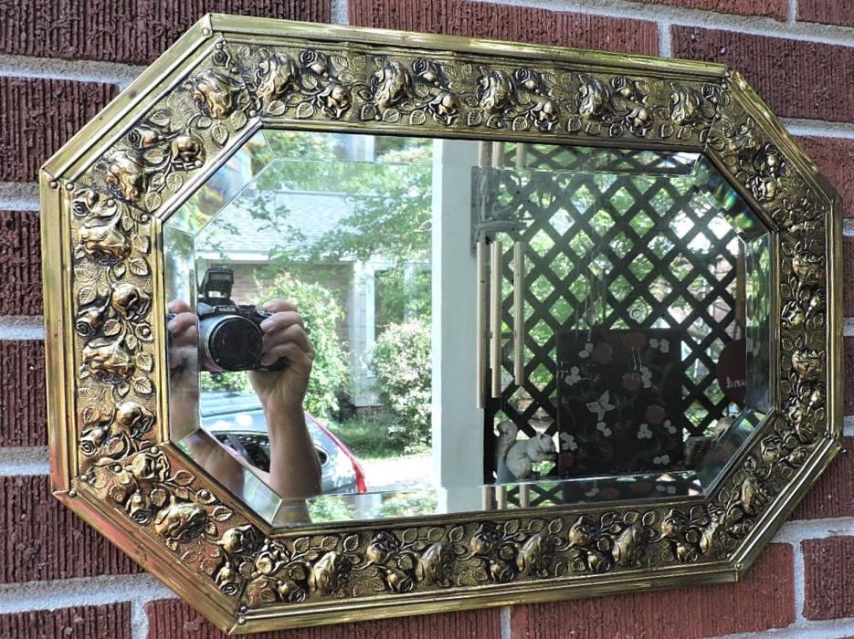 Vintage VICTORIAN STYLE Brass Repousse ROSES & Foliage Beveled MIRROR  c1940-50s