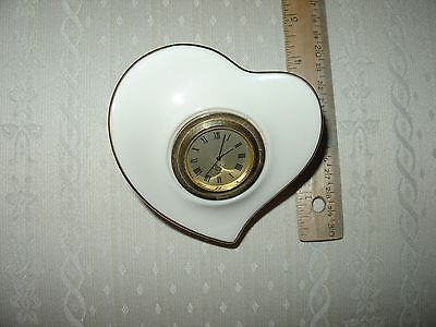 LENOX HEART SHAPED DRESSER CLOCK