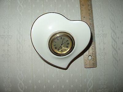 LENOX HEART SHAPED DRESSER CLOCK