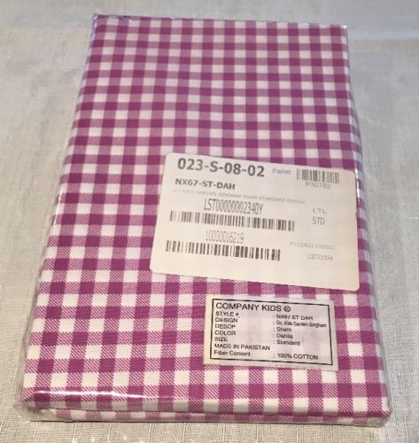 Company Kids Bedding Gingham Standard Sham Dahlia (Purple)100% Cotton