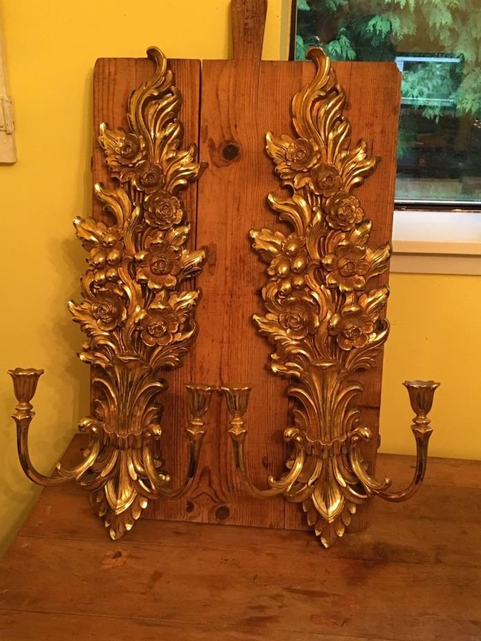 Large Vintage HOMCO SYROCO Double Arm Candle Holder Sconces Gold Roses