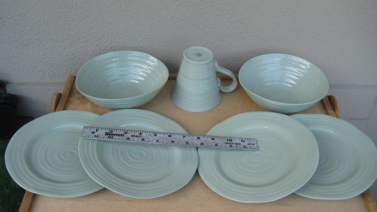 7pc SOPHIE CONRAN for PORTMEIRION Tea/Sage Green 2/Soup Serving Bowls/Plates/Mug