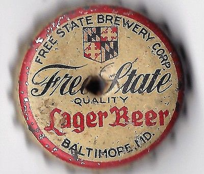 Free State Brewery Lager Beer Cork Bottle Cap Baltimore, Md.