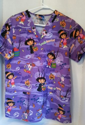 Womens Nick Jr Dora Halloween Medical Nurse Dental Tech Scrub Top Size XS Purple