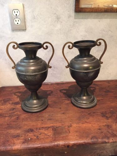 Pair Of Antique Pewter/metal Urns With Weighted Bases