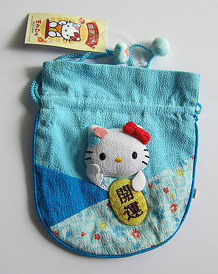Sanrio Hello Kitty Blue Maneki Neko Chirimen Bag New w Tag Never Used from Japan