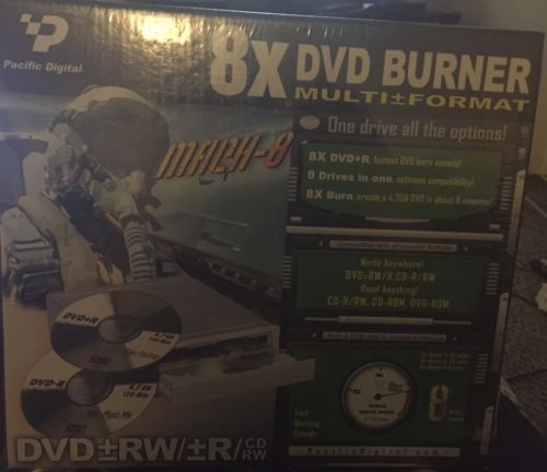 Pacific Digital 8X Dual Format DVD Burner New