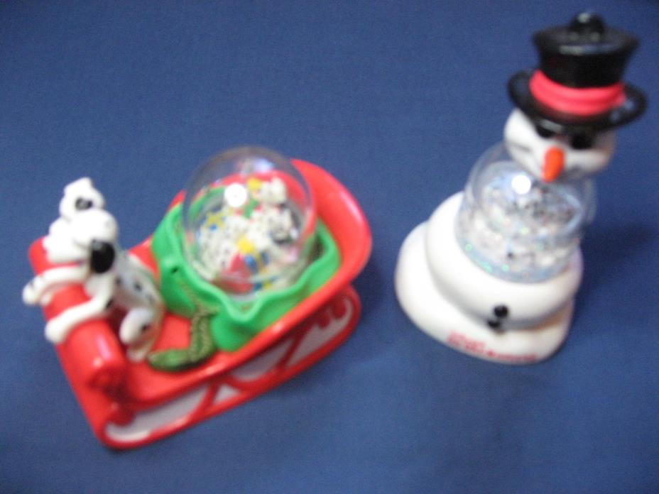 2 Disney's 101 Dalmatians McDonald's Toys Snow Globes: On A Sleigh And A Snowman