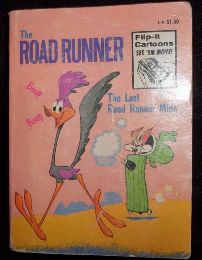 Whitman 1974 Flip-It Big Little Book Cartoons Lost Road Runner Mine 4.75