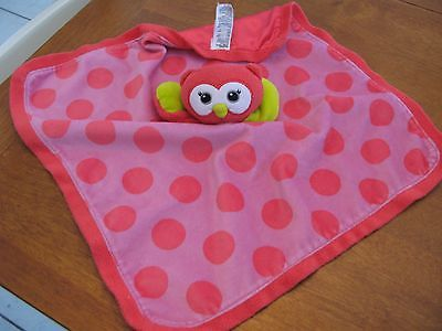 baby starters owl dots dot  satin lovey BLANKET  pink 15
