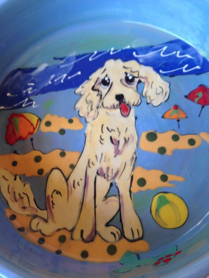 Dog Bowl by Debby Carman Faux Paw Productions Beach Scene Signed Original Sandy