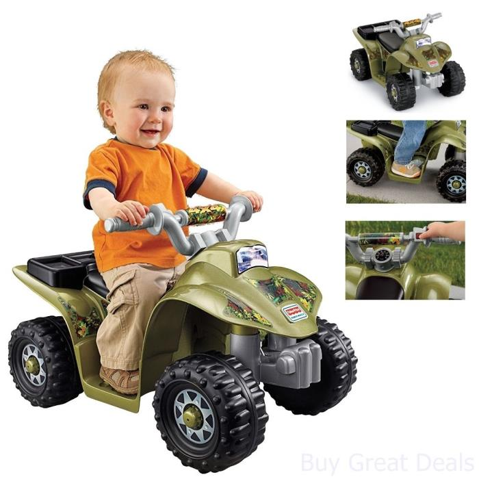 Kids Four Wheeler Ride On Toy Boy Child Power Wheels Fisher Price Quad ATV, Camo