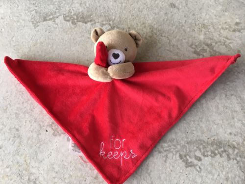 Child Of Mine Carters FOR KEEPS Red minky/satin Security Blanket Bear Rattle EUC