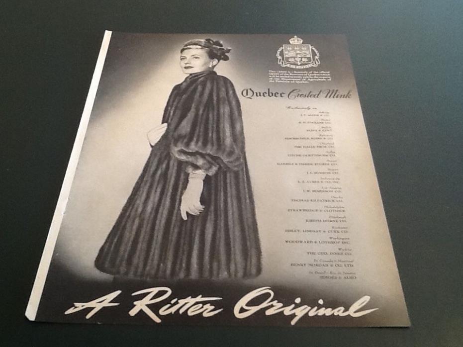 1945 Fur Coat RITTER Fashion QUEBEC Crested MINK Vintage Magazine Print AD