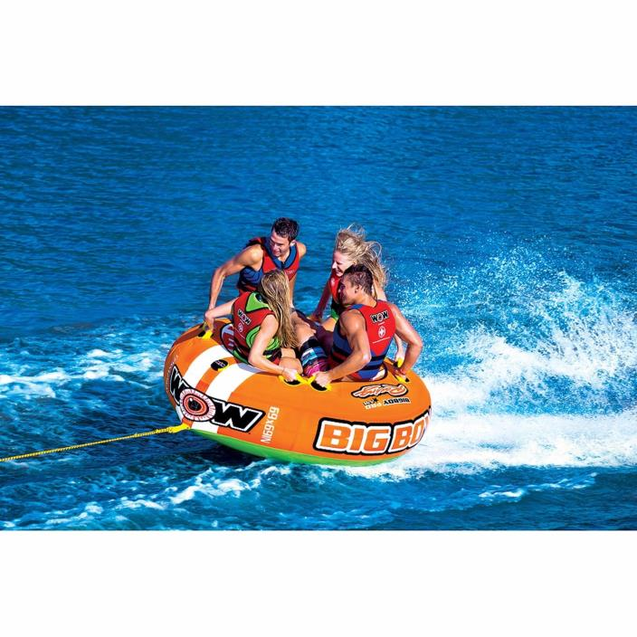 Inflatable Water Towable 4-Person Ski Tube Nonslip Handles Boat Sea Safe Durable