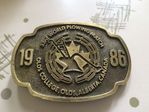 33rd World Plowing Match 1986 Olds College Olds Alberta Canada Belt Buckle