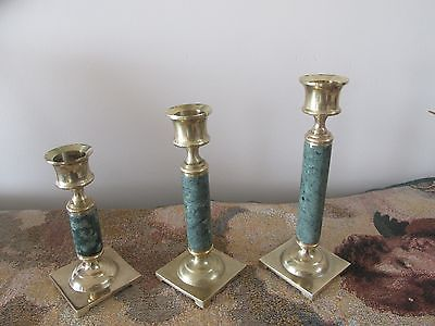 Vintage Brass & Green Marble Candle Stick Holders   Set of 3