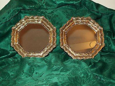 HOMCO Gold Wall Mirrrors #4443 Hollywood Regency Octagon Shape Set of 2