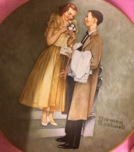 FIRST PROM PLATE THE AMERICAN FAMILY SERIES BY NORMAN ROCKWELL BOX