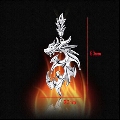 Men's Silver Stainless Steel Dragon Pendant/w Leather Necklace