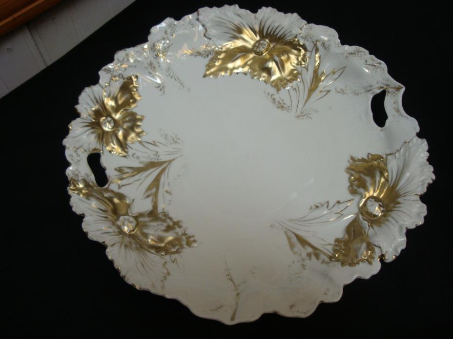 ANTIQUE GERMANY GOLD AND WHITE EMBOSSED CABINET DISPLAY PLATE 10 3/4