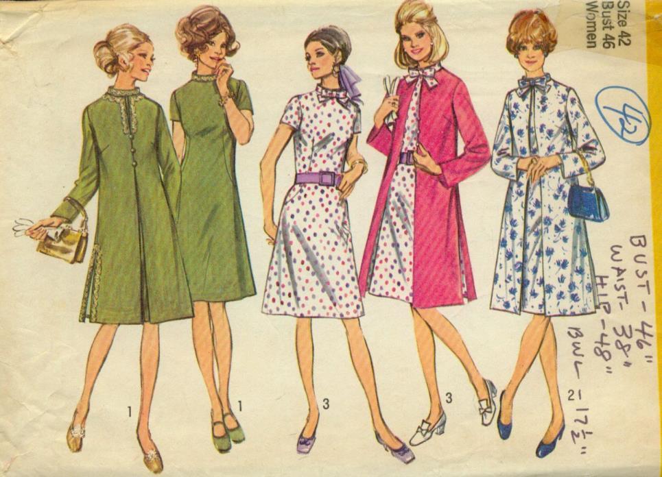 sz 42/24-W(BUST 46)A-LINE DRESS&COAT MANDARIN COLLAR VINTAGE PATTERN'70