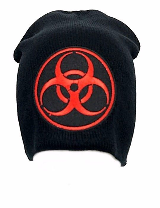 Red Biohazard Symbol Black Beanie Embroidered Patch Zombie Punk Gothic Toxic