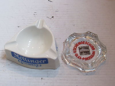 Old German Ceramic 2 Ashtray LOT Mollinger Stumpen Freiburg Breisgau Porzellan