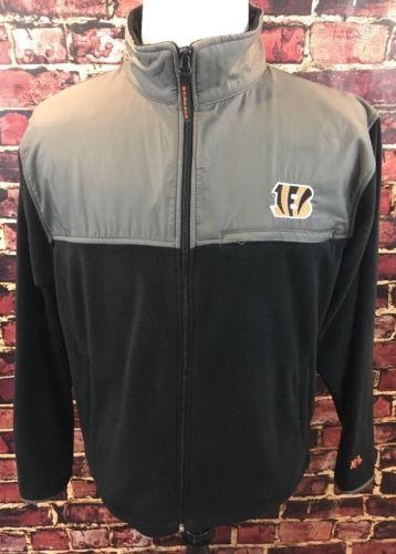 Cincinnati Bengals MENS Full Zip Micro Fleece Jacket Instant Replay Medium EUC
