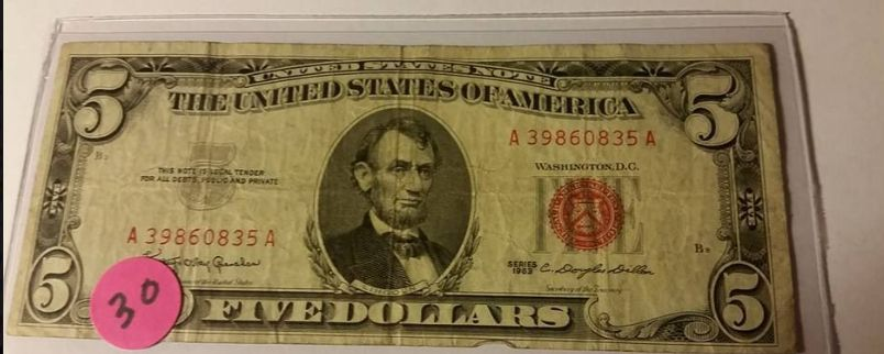 $5 Red Seal Note Vintage 1963 Series Five Dollar Bill   USA SHIP  Lot #  30