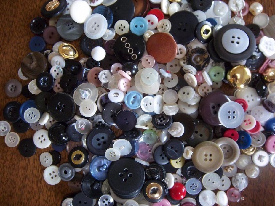 Vintage Button Lot Mixed Vintage and Modern Plastic Metal